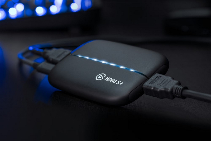 hd60 s+ capture card connected to devices on desk