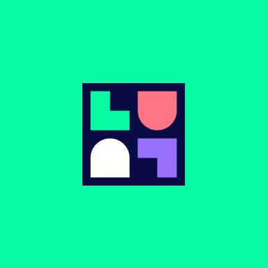 LuluLuvely Block Logomark over green background