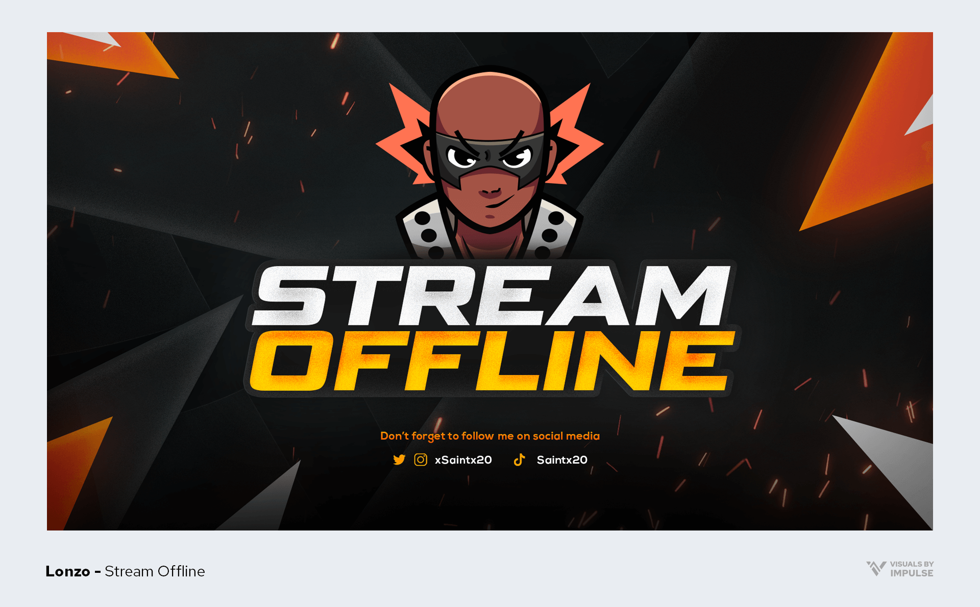 Lonzo example Twitch offline screen with anime character
