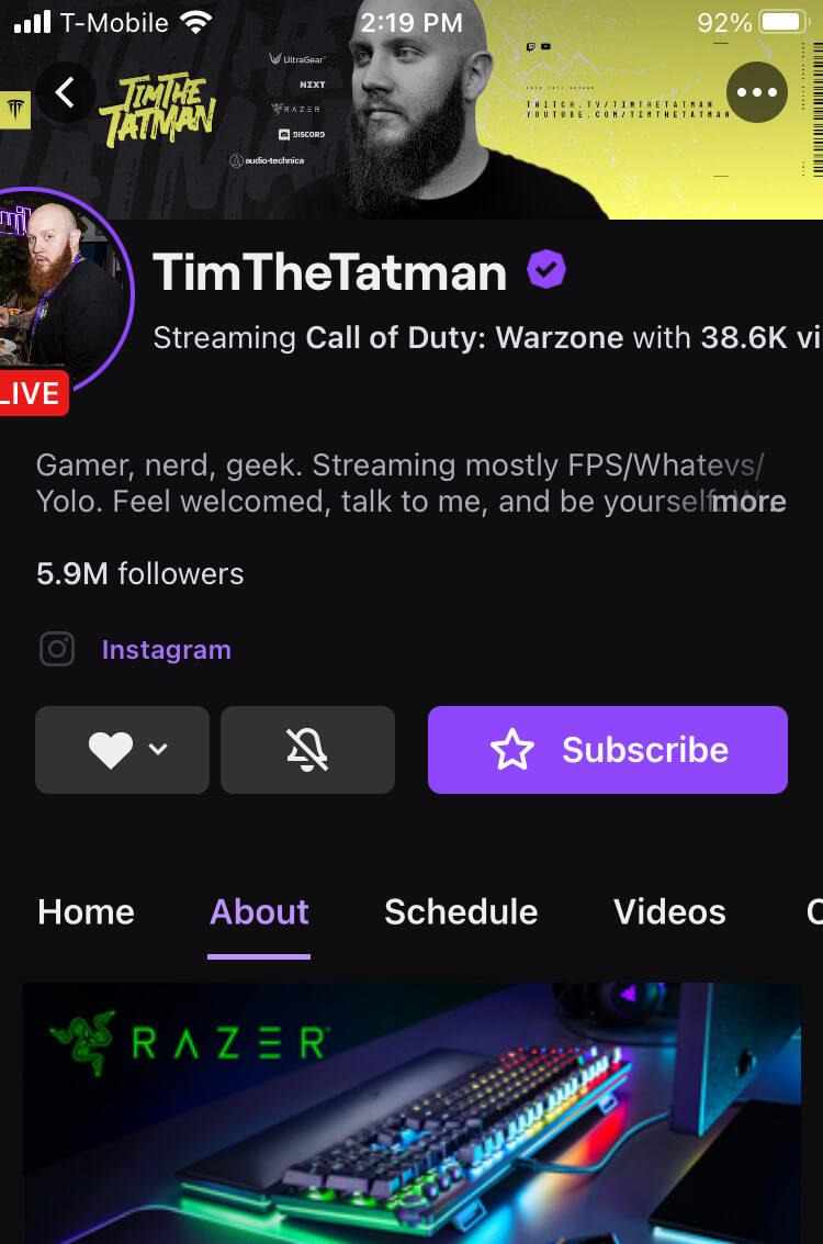 TimTheTatman Mobile Twitch Profile