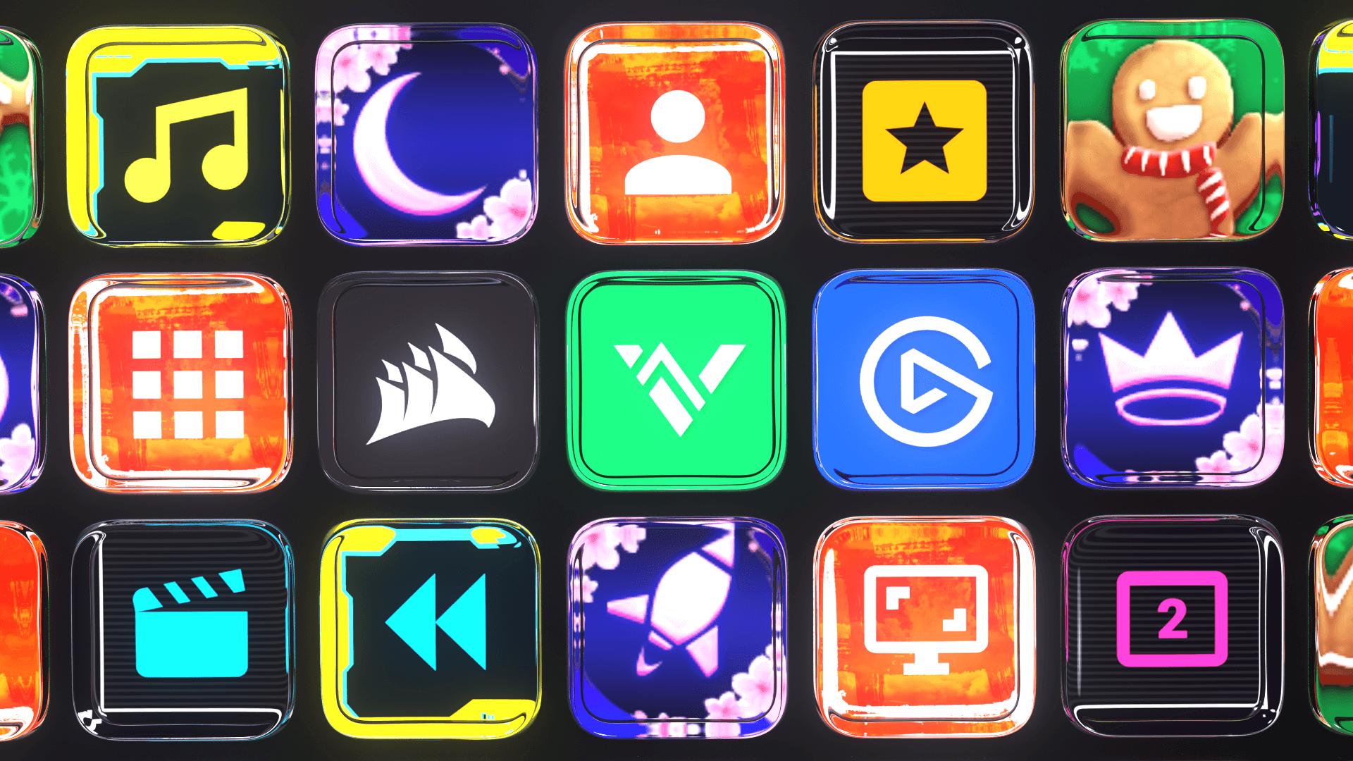 multicolored stream deck icons