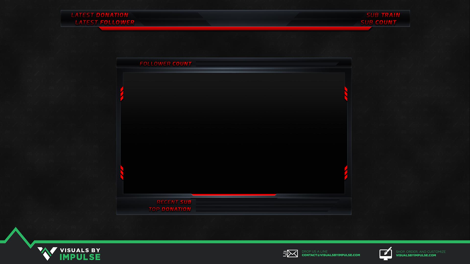 Neon Red Stream Overlay - Visuals by Impulse
