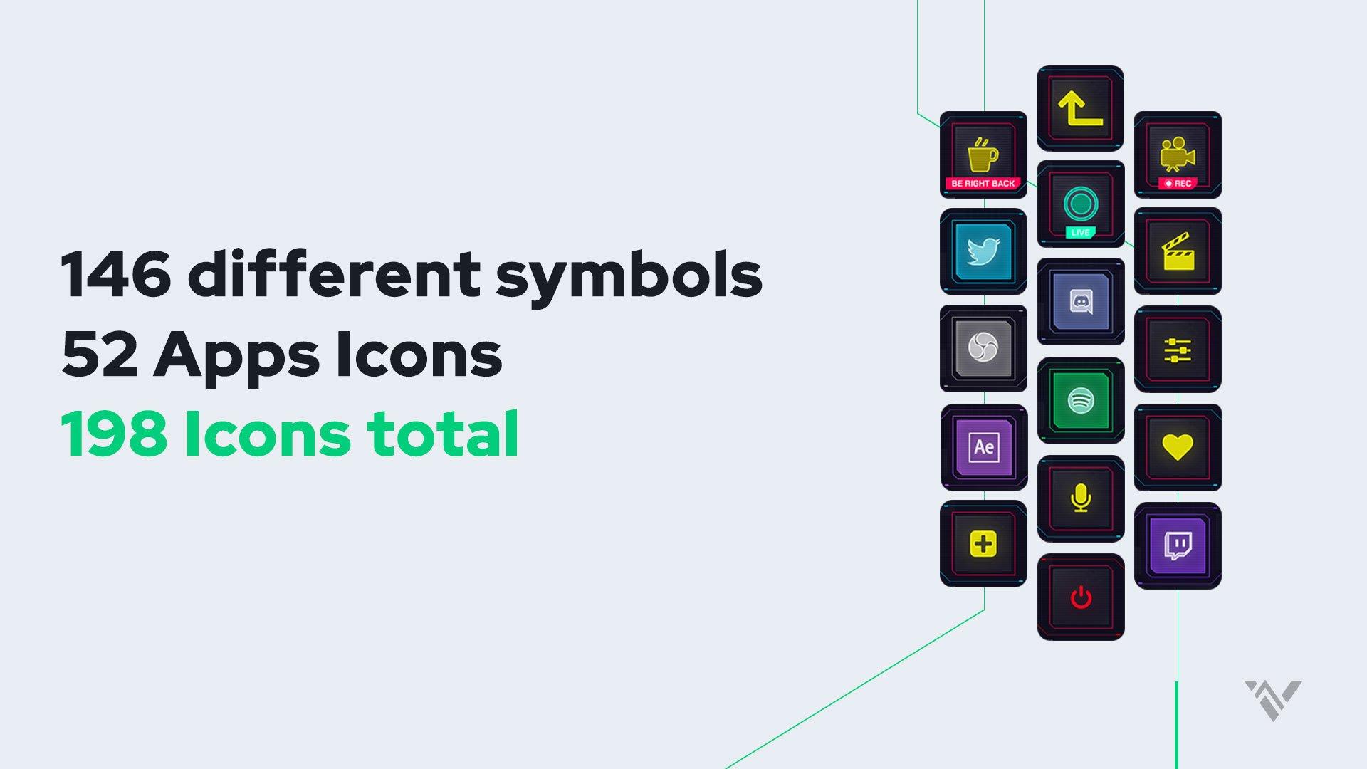 Cyberpunk Stream Deck Icons - Visuals by Impulse