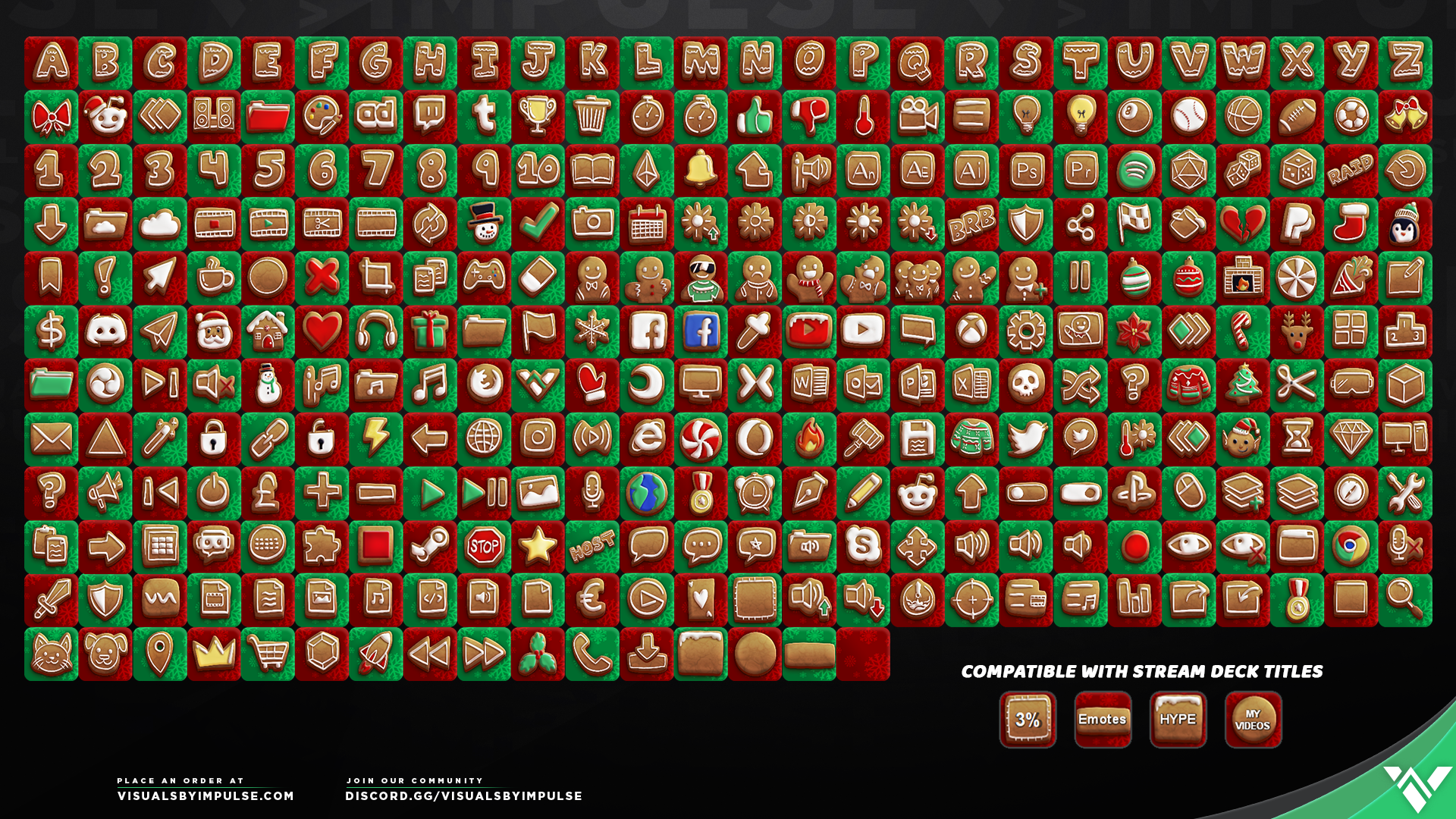 Gingerbread Stream Deck Icons - Visuals by Impulse