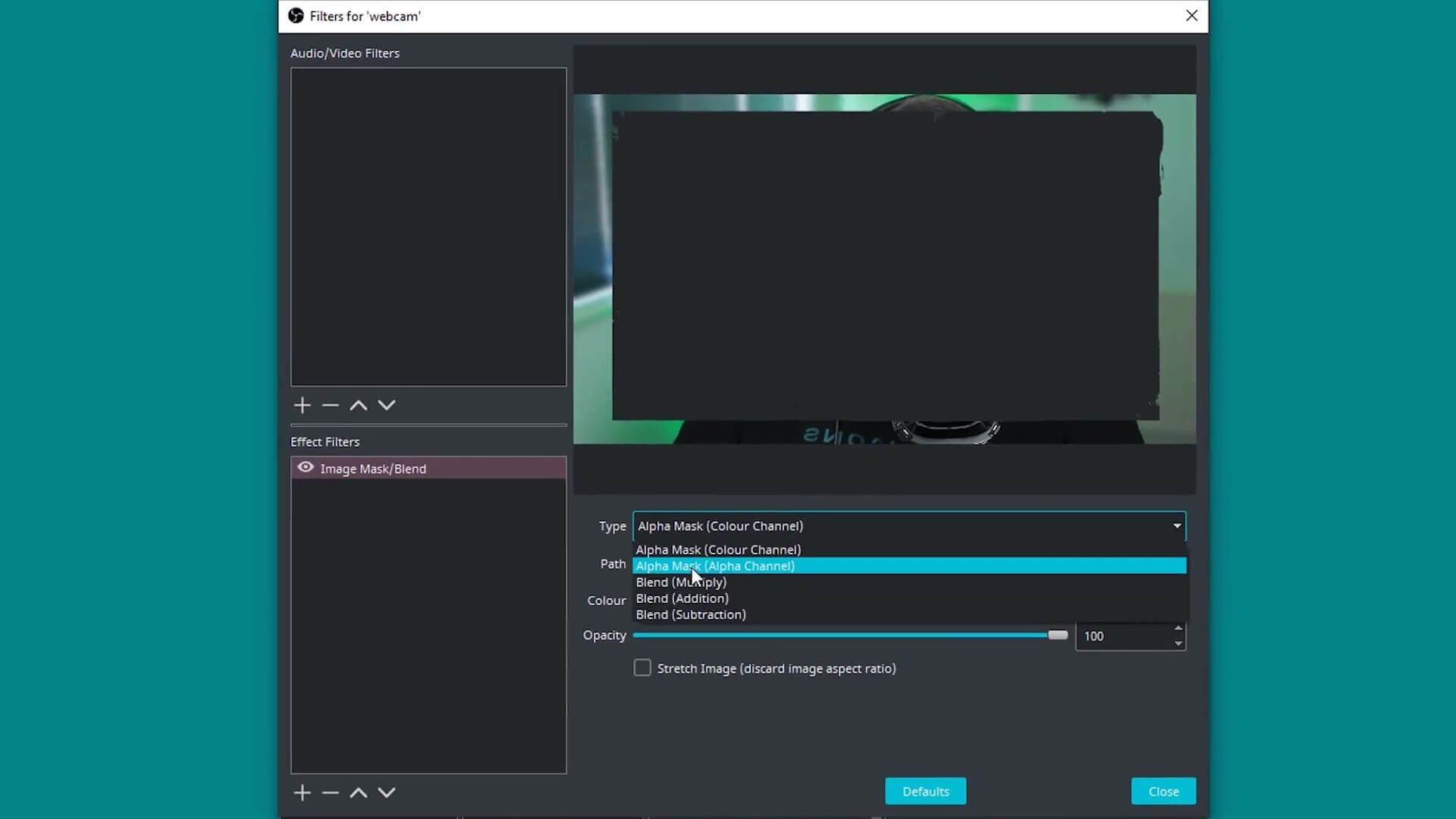 Adding an image mask in obs studio