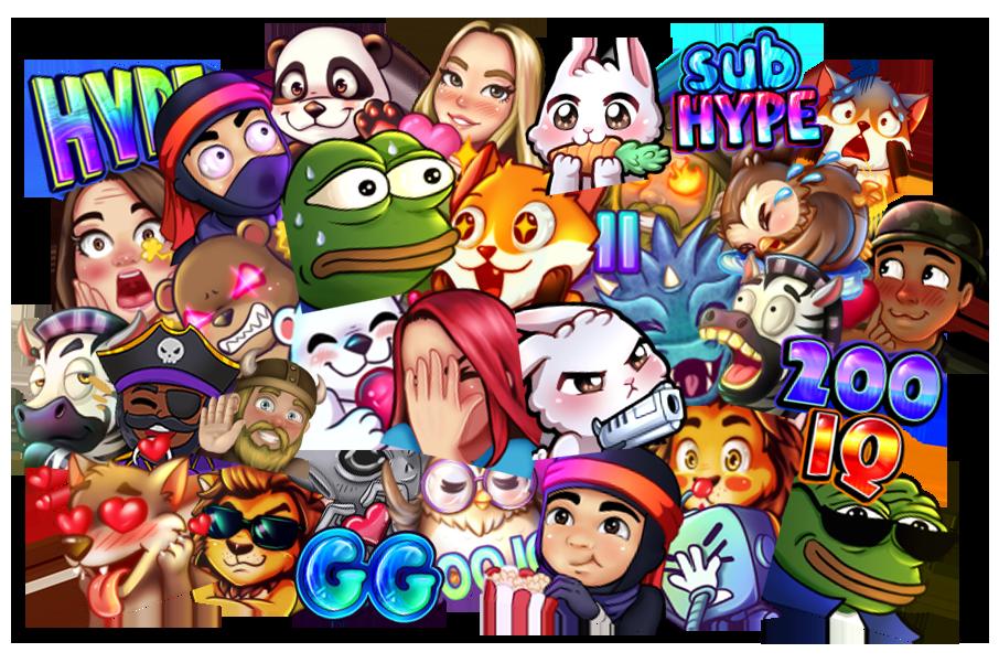 colorful emote collage