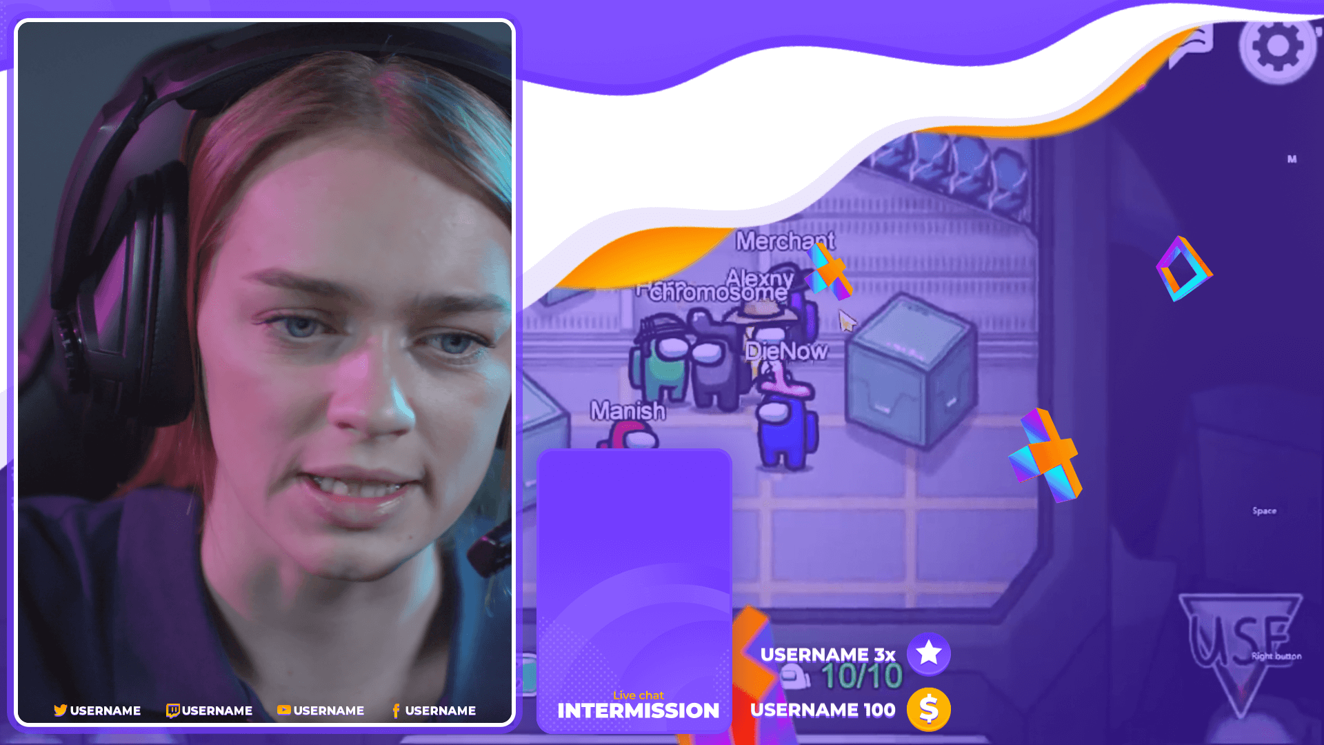 streamer playing among us using purple overlays