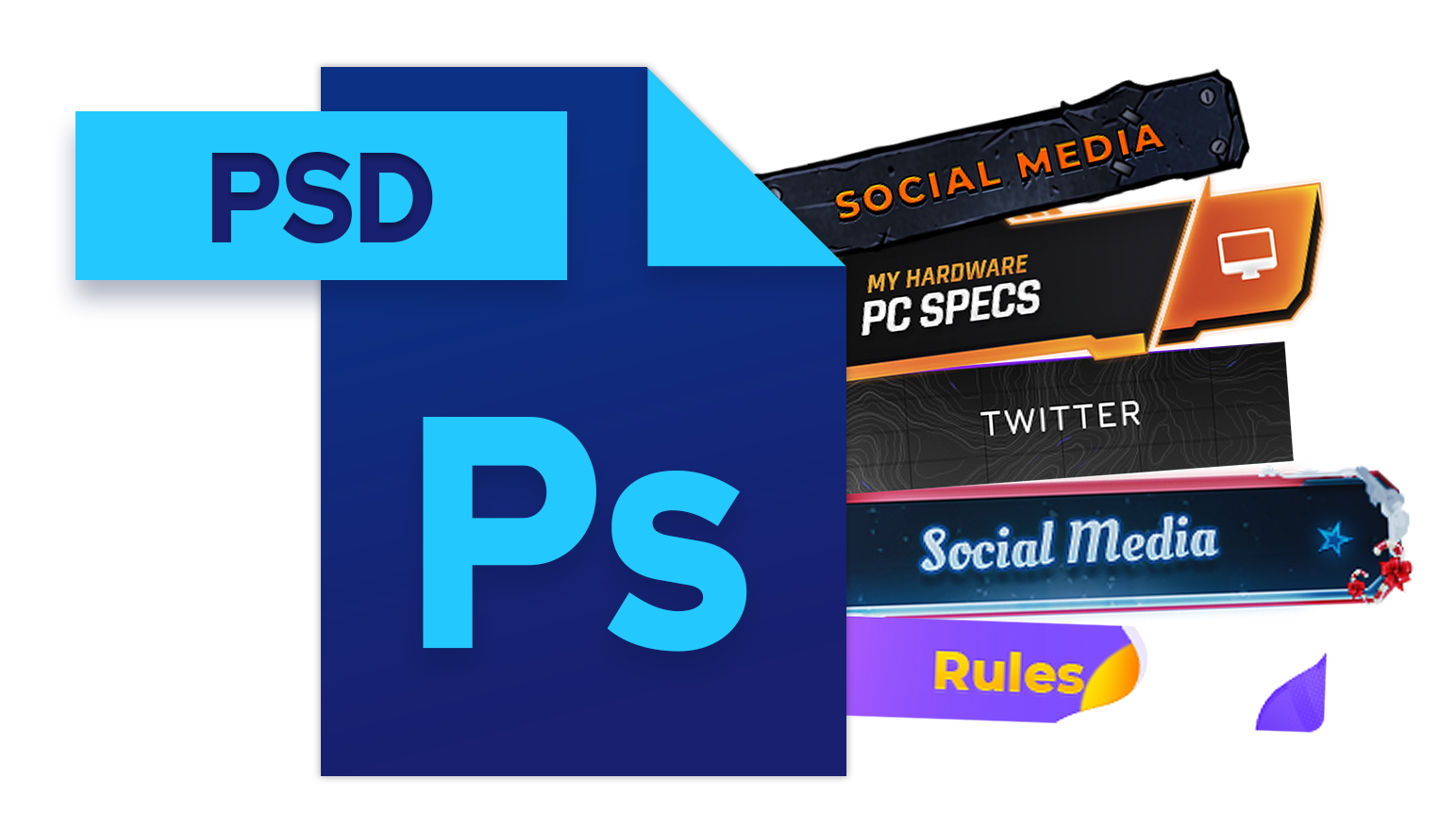 photoshop psd icon with four twitch panels