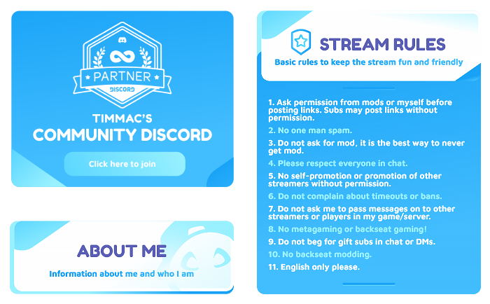 tall Blue and white twitch panel examples