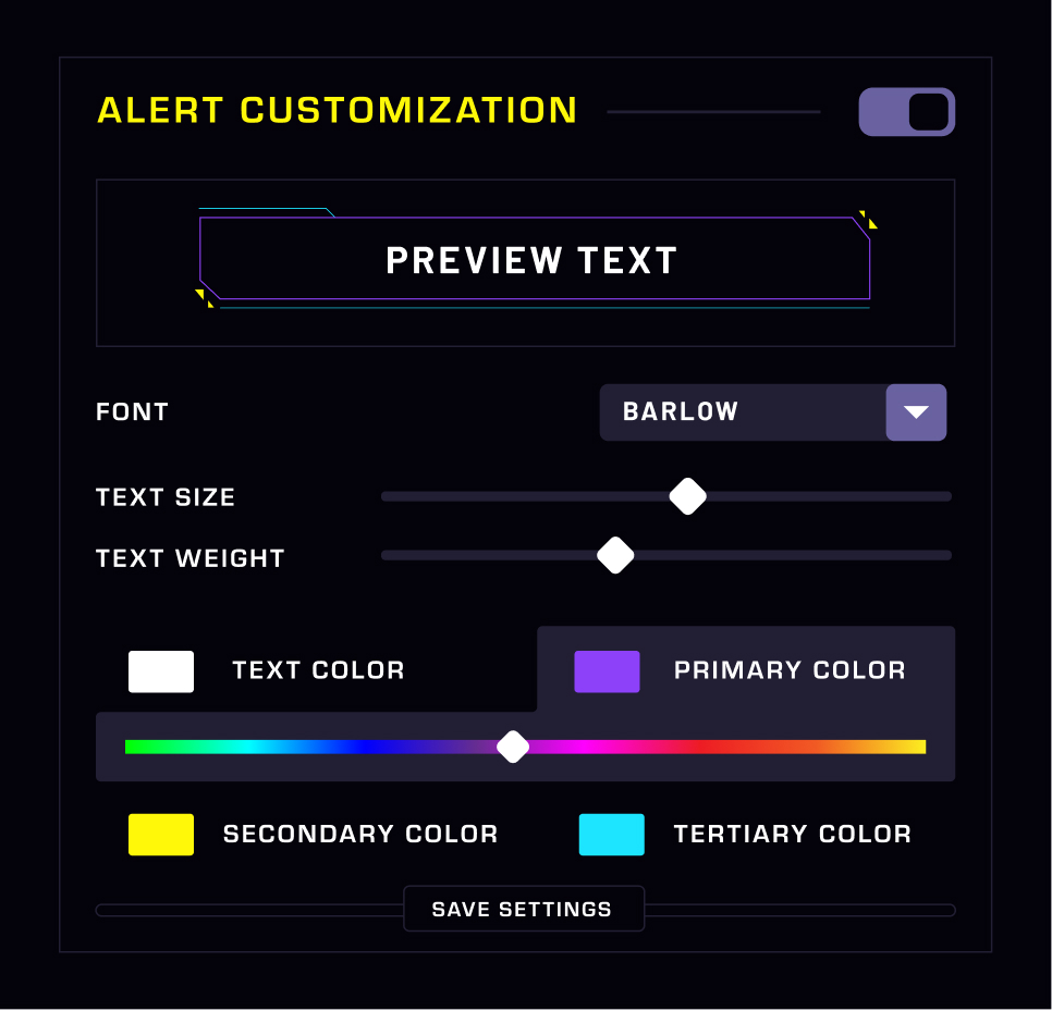 Alert Customization Panel with sliders and toggle settings
