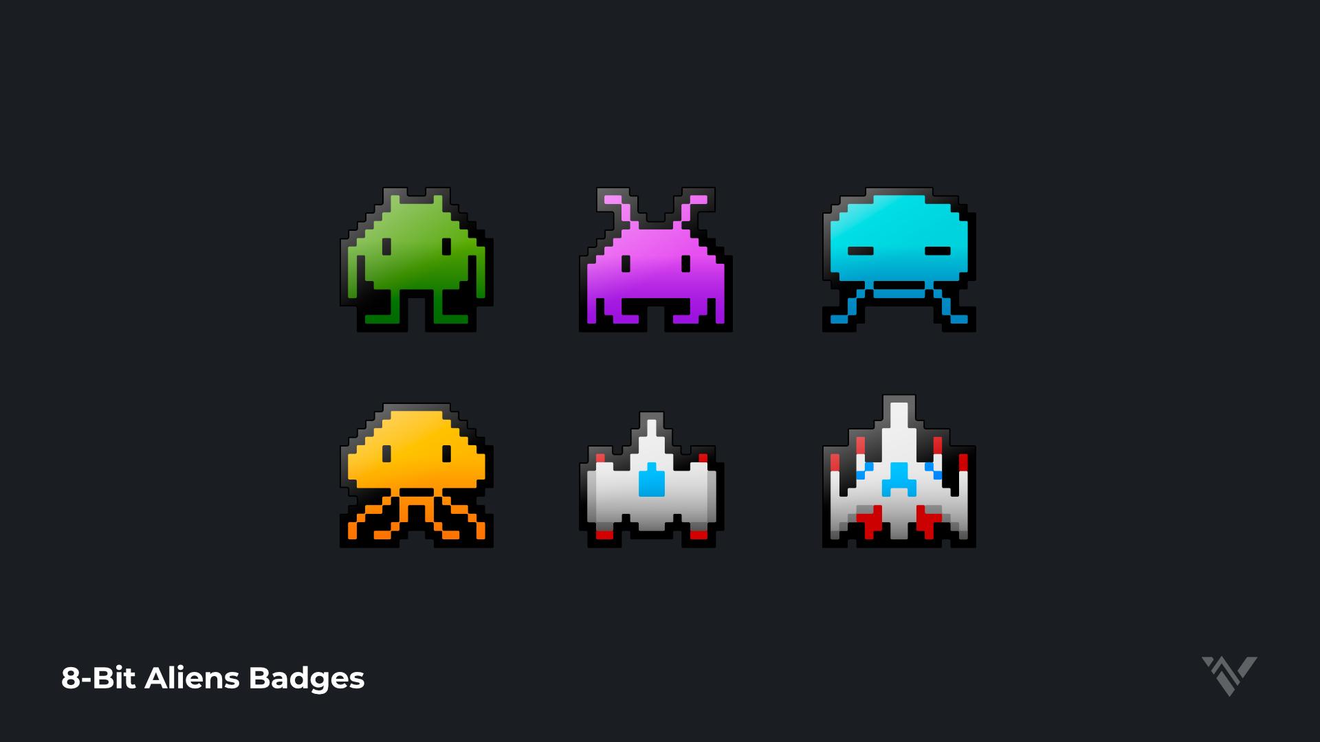 8bit Alien Badges