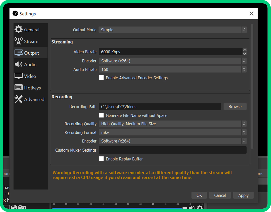 simple output settings in obs