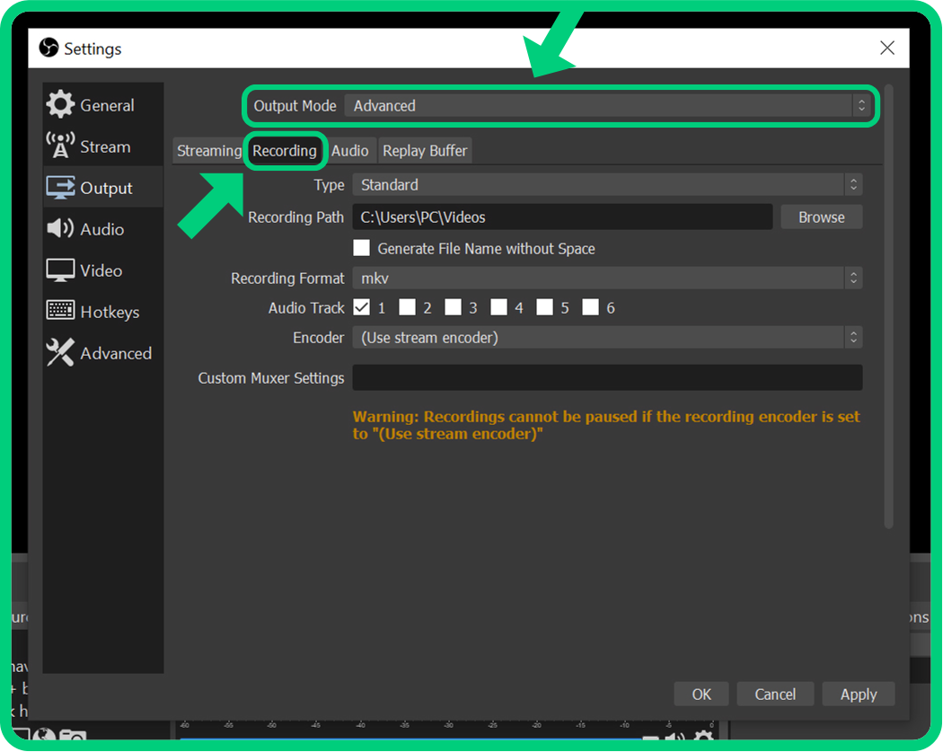 advanced output settings in obs