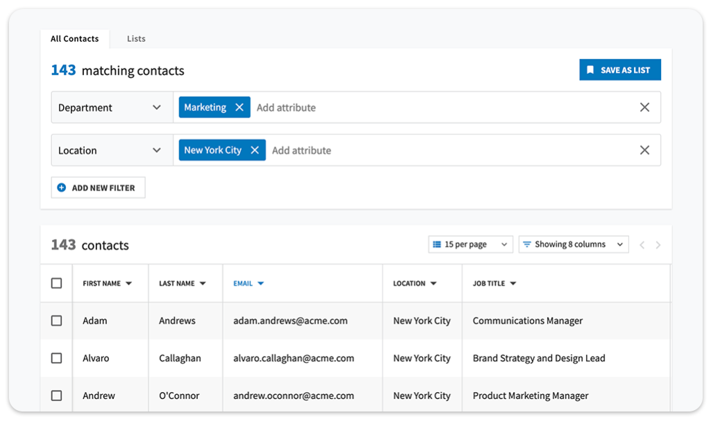 Create custom distribution lists of employees based on location and roles