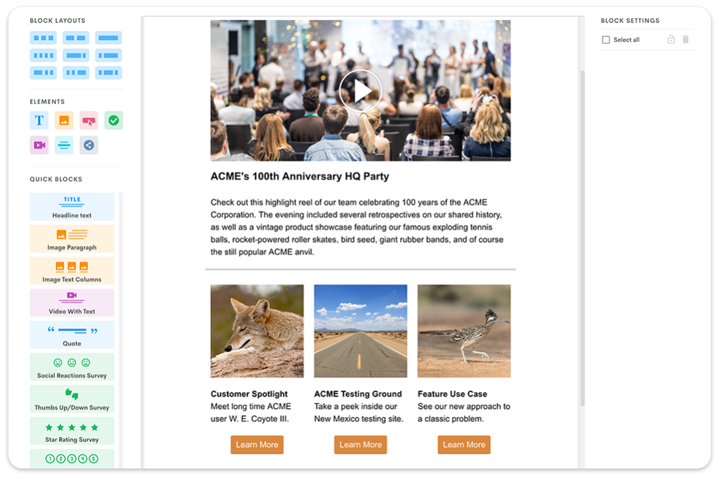 Employee email newsletter with bundled news and content