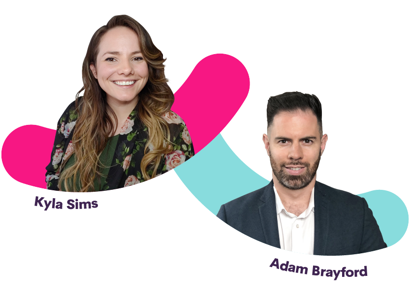 Kyla Sims and Adam Brayford, hosts of Bananatag's Morning Show - The Best Show for Internal Communicators