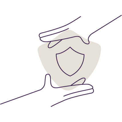 Hands and shield represent enterprise security and reliablity