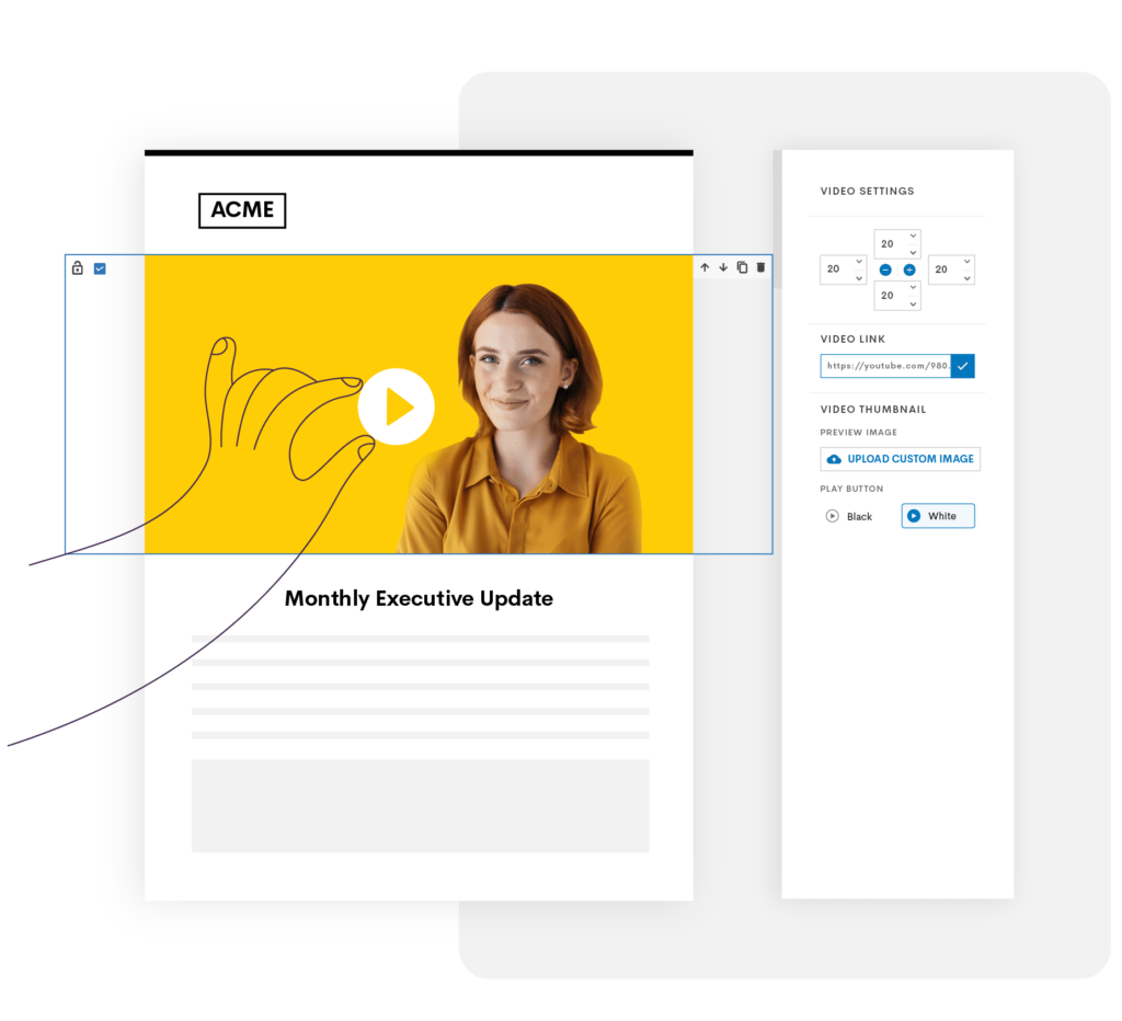 Illustration with a hand adding a video block in Email Designer tool