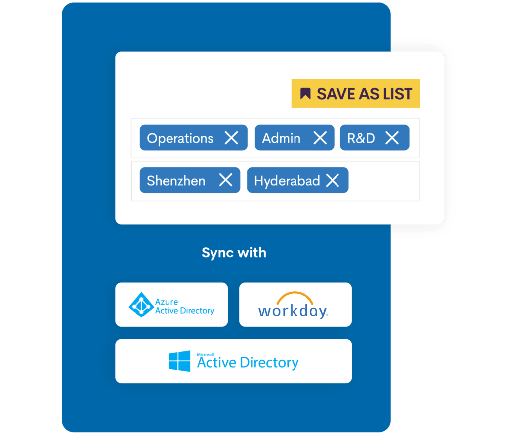 List management and synch with Azure, Workday and Active Directory