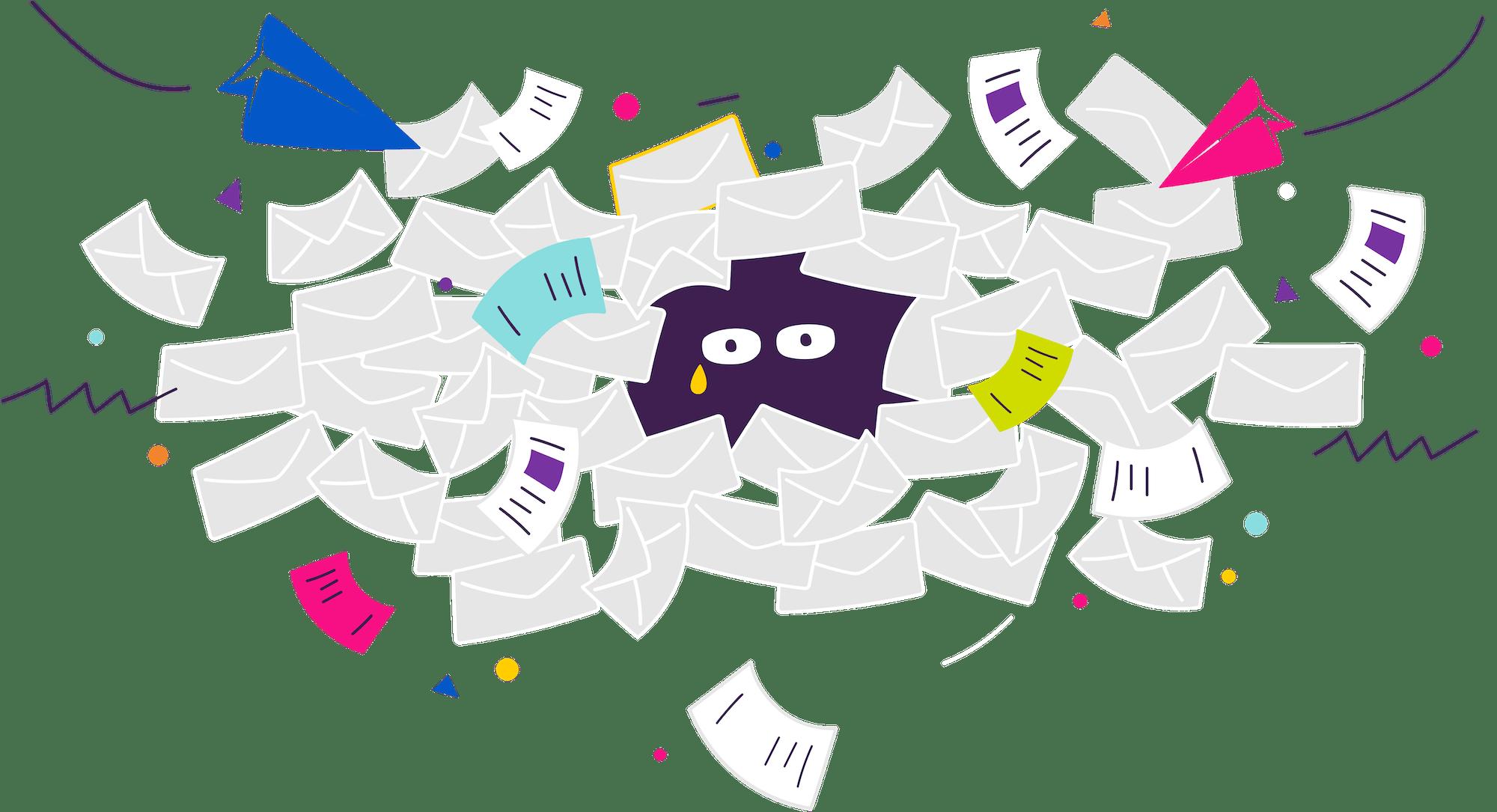 Email overload illustration
