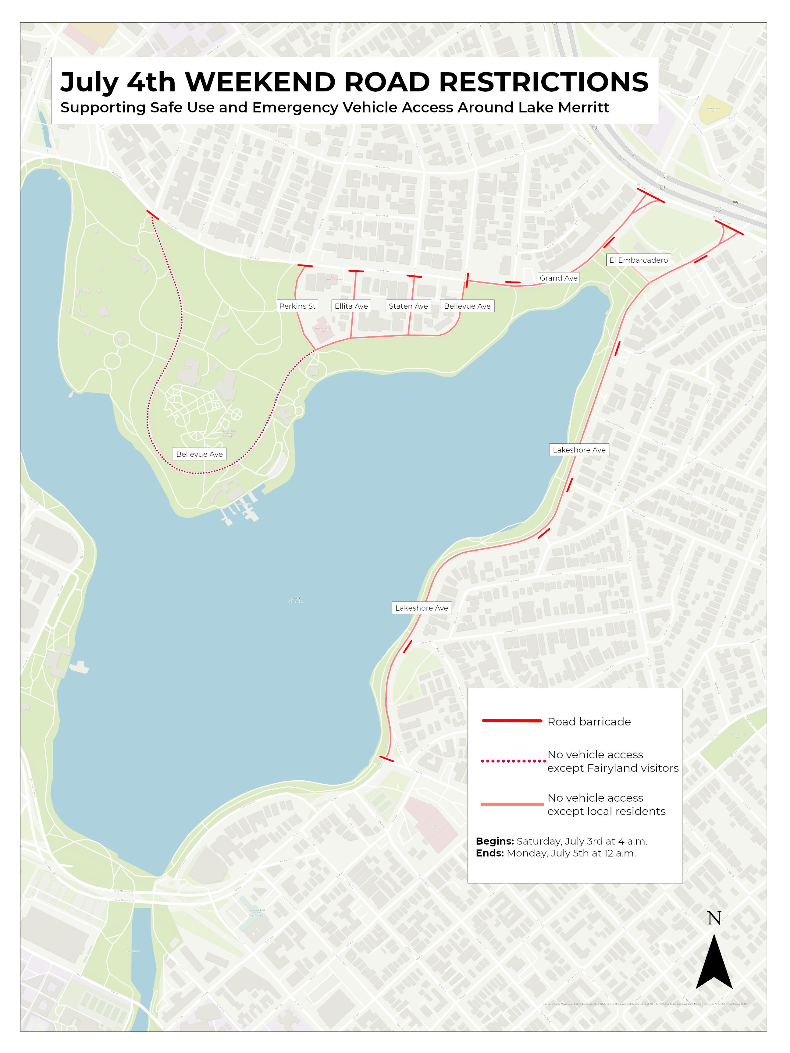 Road Closures map around Lake Merritt, 4th of July weekend 2021