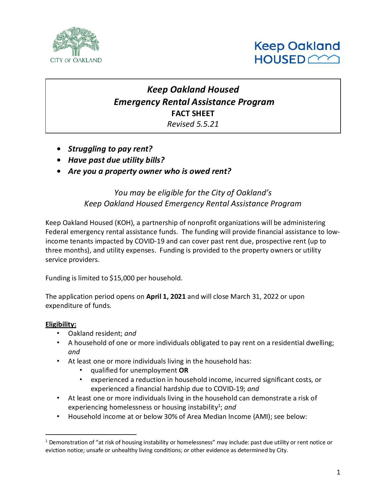 Updated Emergency Rental Fact sheet page 1