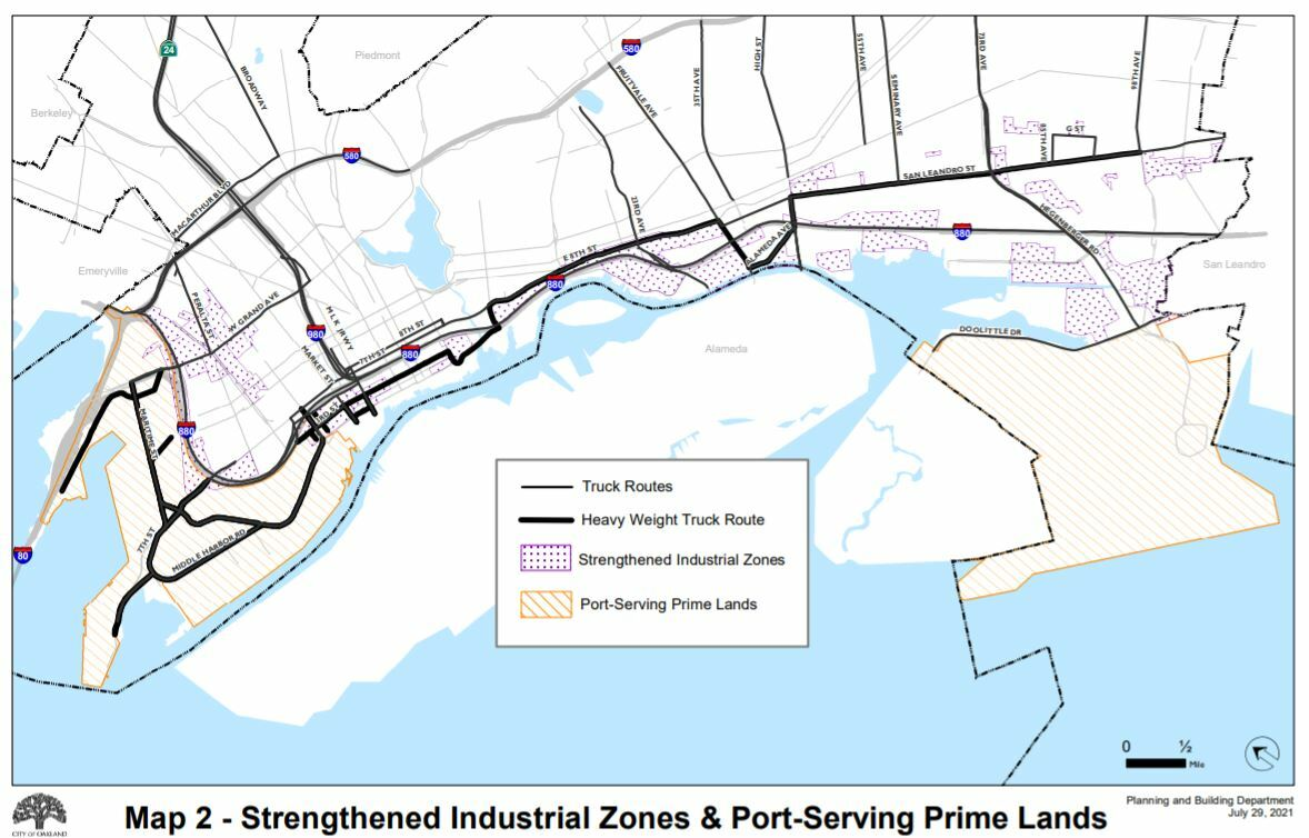 Map of Oakland Showing Truck Routes, Port Prime Lands Overlay, and Strengthened Industrial Zones