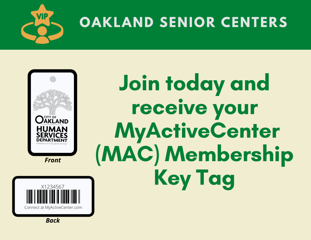 Oakland Senior Center Membership Key Tag Logo