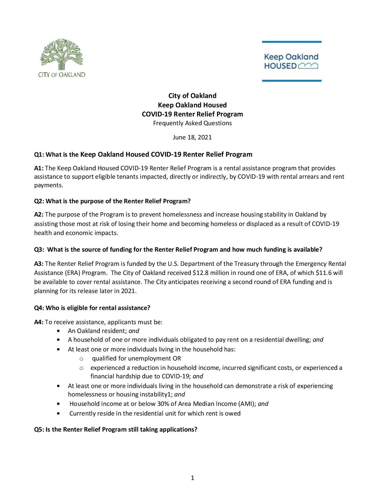 Oakland Renter Relief FAQ page 1 of 3