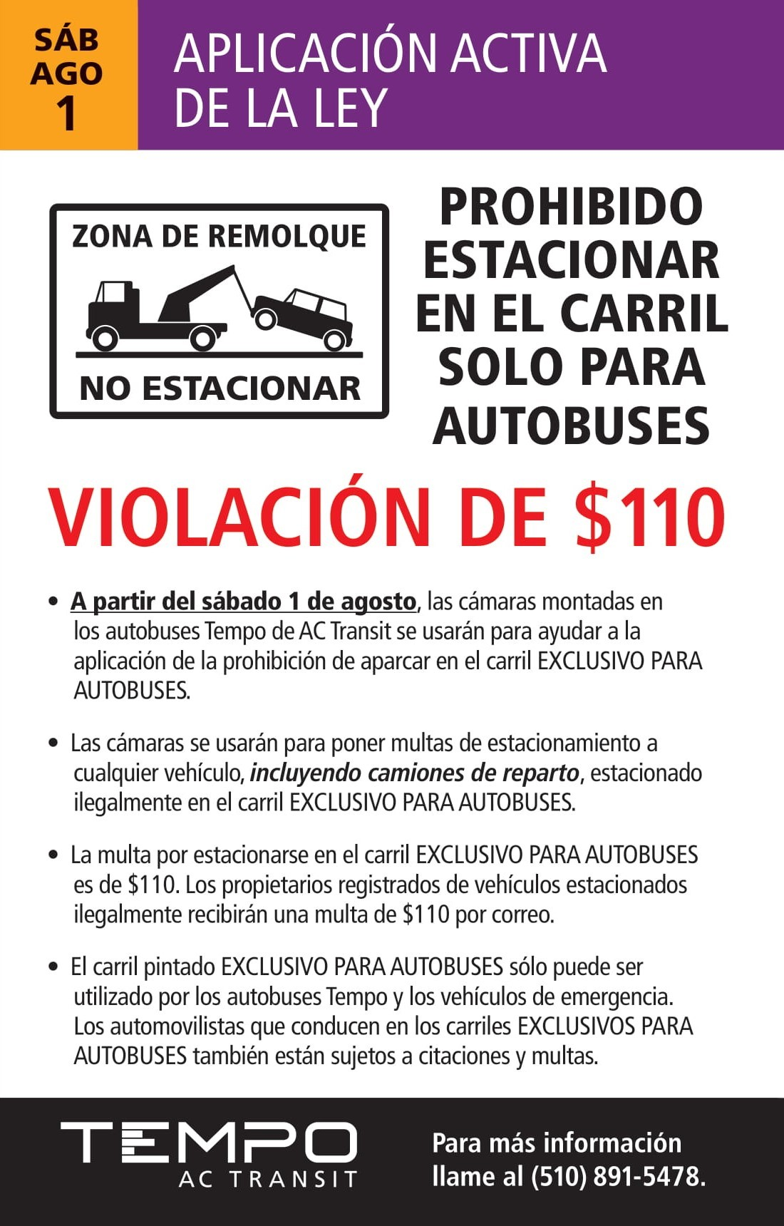 AC Transit notice about enforcement of the bus only lanes in Spanish