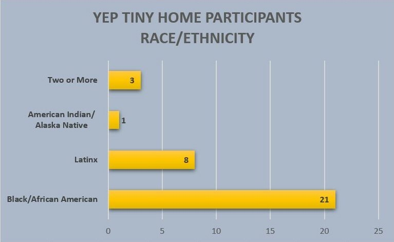 Bar graph of the race/ethnicity of YEP participants