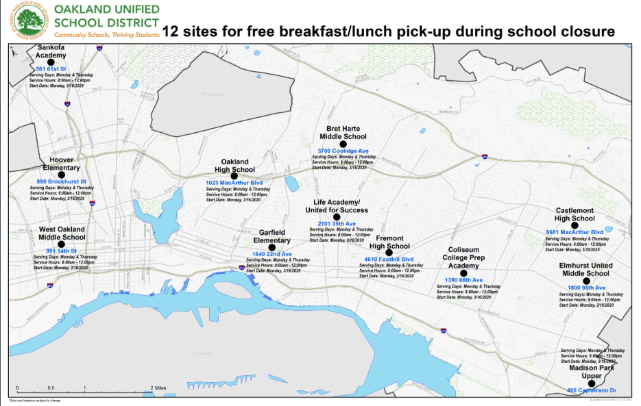 Map of the 12 sites the Oakland Unified School District has designated for free breakfast/lunch pick-up during the school closures