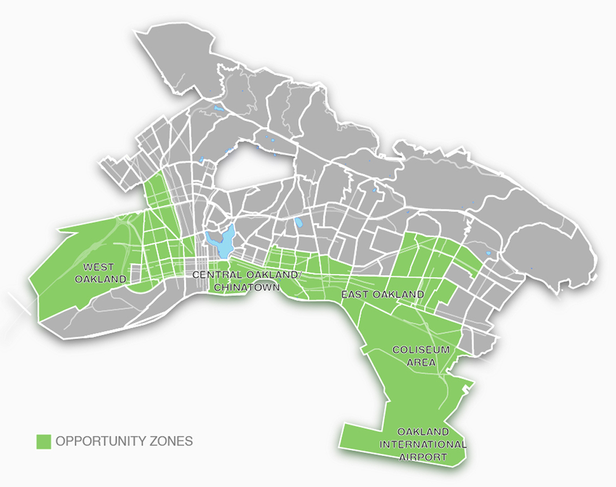 Map showing Oakland's 30 census tracts that have been designated Opportunity Zones