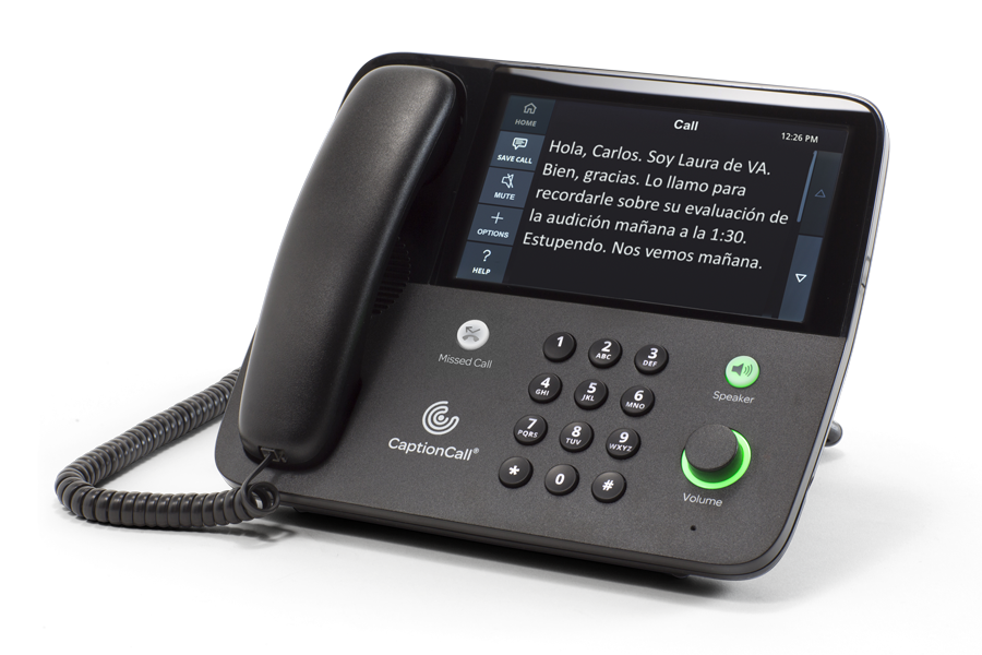 CaptionCall Phone with text in Spanish