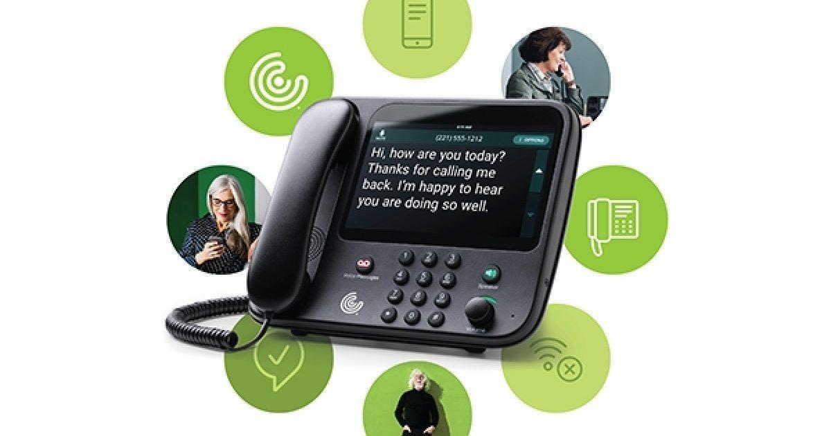 Captioncall phone for elderly people and individuals with hearing loss