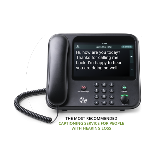 CaptionCall phone displaying caption for people with hearing loss