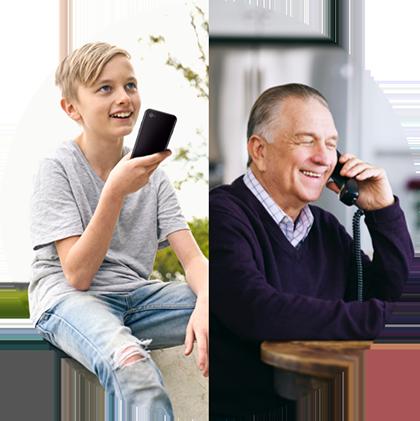 Boy talking to man on phone circle image branding