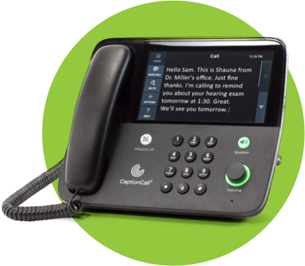 Captioncall table phone displaying caption for real-time call