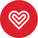 Captioncall heart spiral style red circle image branding