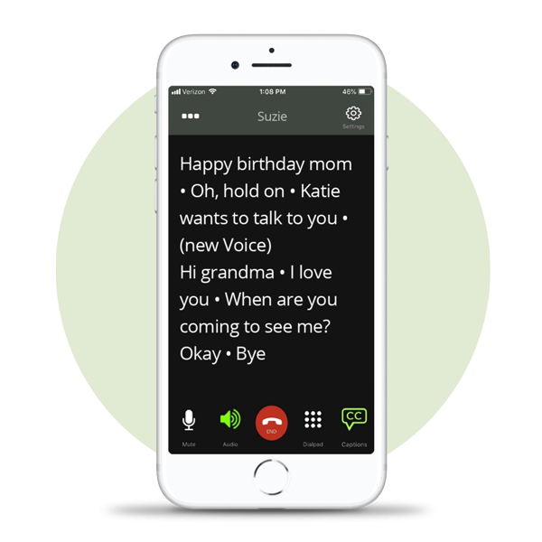 Captioncall Mobile App displaying caption on iphone