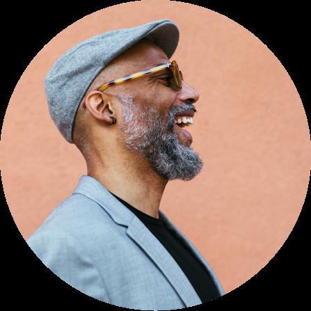 Laughing man circle profile