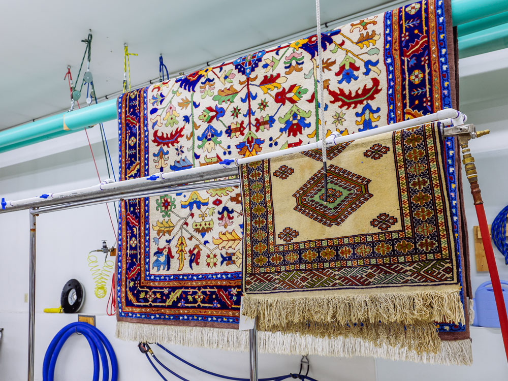 rinsing and drying area rugs