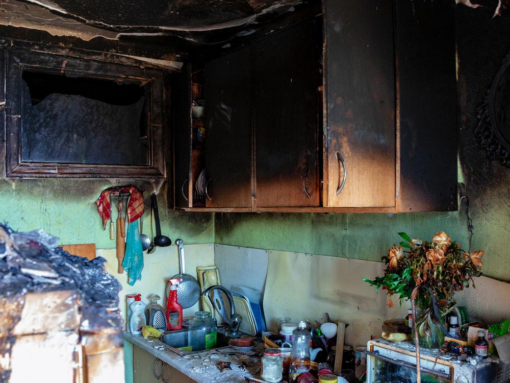 kitchen house fire that needs fire damage restoration
