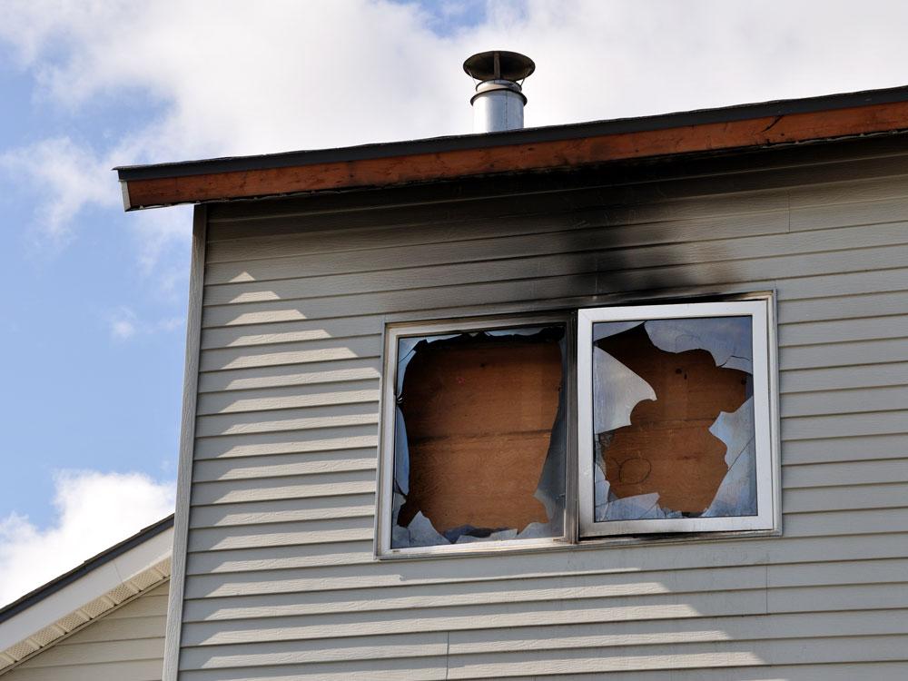 fire damaged apartment complex