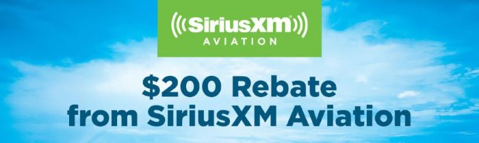 SiriusXM Aviation Rebate 2021
