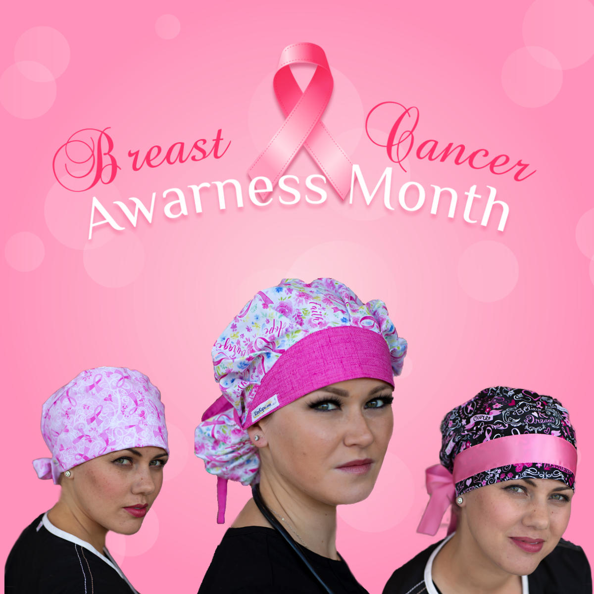 Breast Cancer Awareness Surgical Scrub Caps