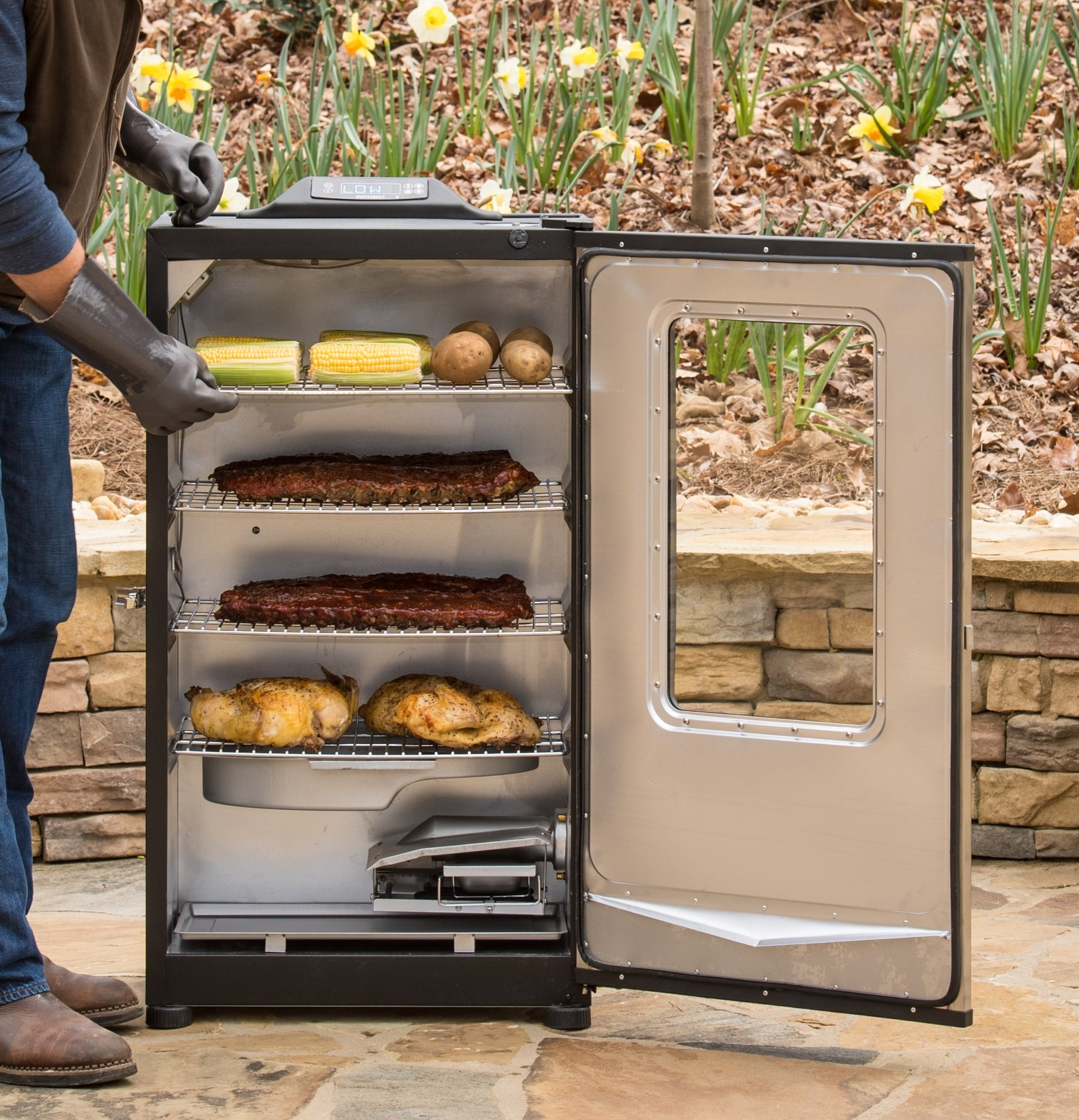 Four cooking racks provide enough room to cook for a crowd
