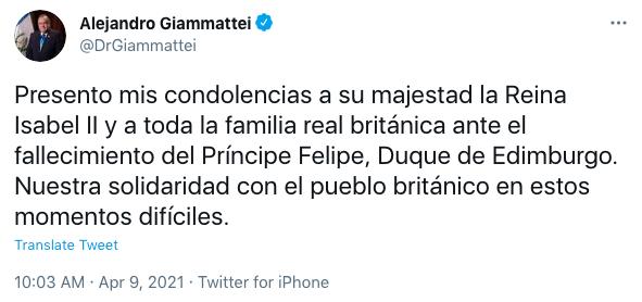 Príncipe Felipe reacciones