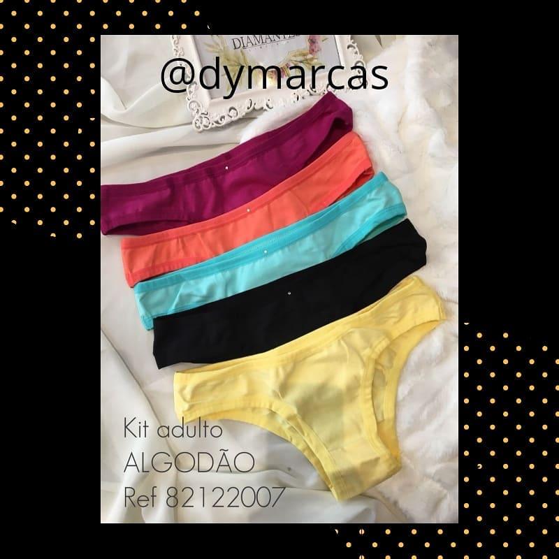 8e01c00e8 82122007 kit 5 calcinhas básicas em algodão Diamantes lingerie.