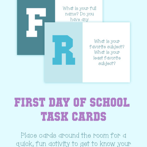 Task Cards (First Day of School)
